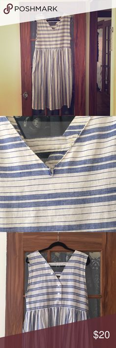 Vintage blue and white striped sun dress Love this vintage sun dress but it's been sitting in my closet. Fits approximately like a size 8 or M/L. It does have a slight tear in the front as pictured, should be an easy fix. It also has pockets! vintage Dresses Midi