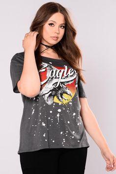 4308e3c7f38bd Eagle Eye Cold Shoulder Top - Charcoal Eagle Eye