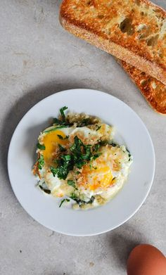 FONTINA & SPINACH BAKED EGG with GARLIC BROWN BUTTER CIABATTA ...