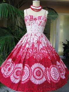 Wonderful red and white 1950s Tori Richard ...  elfsacks