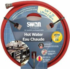 Swan SNCHW58025 Premium Hot Water Heavy Duty 5/8-Inch by 25-Feet Water Hose by Swan. $22.89. Rugged abrasion resistant outer cover. Industrial-style reinforcement for maximum flexibility. Nickel plated crush proof brass couplings. High performance Burst-400 psi. Handles hot water up to 200-Degree F (94-Degree C). The Swan Hot Water hose is built tough for those times when hot water needs to be moved without harming the basic integrity of the hose. This hose can handle wat...