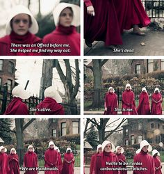 The Handmaid's Tale: It's only funny if you know Latin. Actually, it's probably only funny if you're a twelve year old boy studying Latin. Doesn't really translate. It's… something like don't let the bastards grind you down.