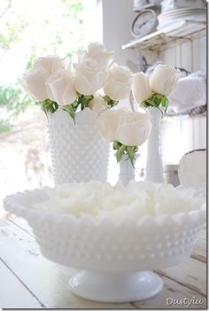 Beautiful Milk Glass - love the hobnail design