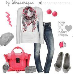 Pink + Grey by lilmissmegan on Polyvore