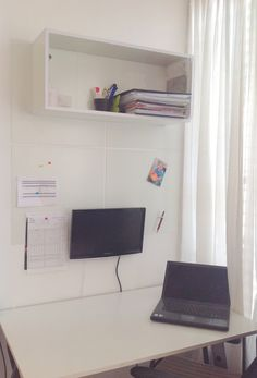 Cool working station installed on drywall, with a shelf and a PC screen mounted using Magnektiks Check out Magnektik.com #DIY #magnets #working #station #magnektik #design #office #metal #magnetic