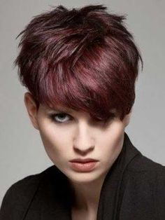 Cherry Red Messy Pixie Haircut