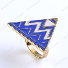 1PC Gold Tone Blue/Green/Purple Enamel Triangle Fashion Finger Ring Punk Rock Vogue
