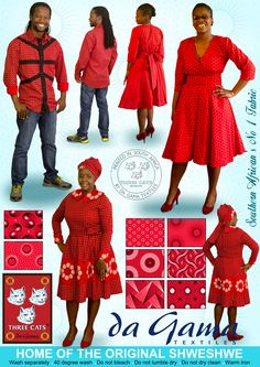 Welcome to the official website of Da Gama Textiles, home to the original Shweshwe. Want to know more about us or Shweshwe, and see what we have to offer? African Traditional Wear, Traditional Outfits, African Dresses For Women, African Fashion Dresses, Shweshwe Dresses, Three Cats, Textile Fabrics, African Fabric, Work Wear