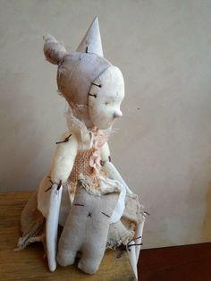 Julieta Art doll ceramic figure textil art mix media by Petuqui