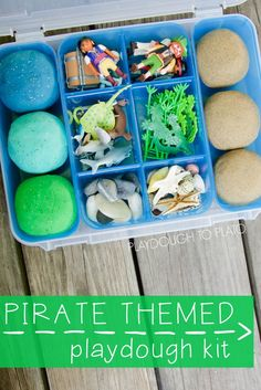 So awesome for a rainy day or as a gift for pirate lovers. Pirate Themed Playdough Kit. Super squishy ocean and sand playdough recipes plus fun toys to keep with it.