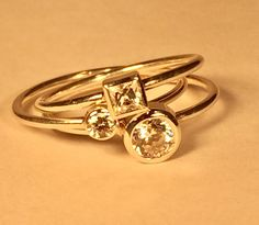 set of three stacking rings in sterling and cz.