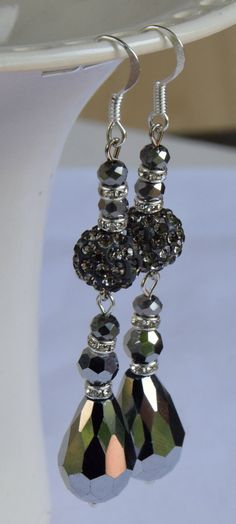 Silver Crystal Teardrop and Pave Clay Rhinestone Disco Beaded Dangle Earrings. Silver Teardrop Crystal Earrings with Disco Ball Beads.