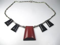 Jakob Bengel Designer Collier Art Deco Bakelit Halskette 30er Modernist +zN1