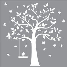 designyours Removable Tree Wall Decals with Birds White Tree Wall Decals for Nursery Tree Wall Decal for Girls Room Large Tree Wall Decals Bird Wall Decals, Tree Decals, Nursery Wall Decals, Sticker Mural, Wall Art, Silhouette Cameo, Tree Silhouette, Tree Stencil, Stencils