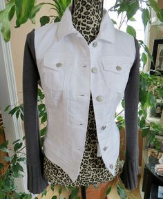 Fun upcycled Denim Sweater Jacket! Nice cotton bell sleeves make this a versatile jacket for SPRING!!