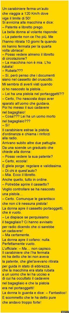 Un carabiniere ferma Funny Stories, Haha, Comics, Random, Memes, Books, Learning Italian, Libros, Book