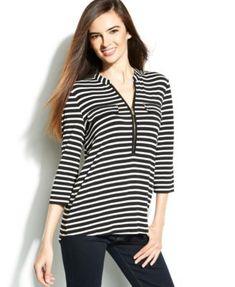 Calvin Klein Roll-Tab Striped Zip-Front Top | macys.com