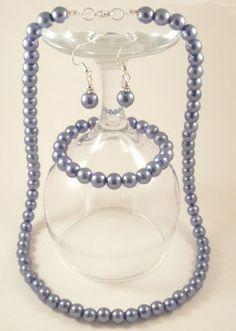 Blue Pearl Glass Jewelry Set (Necklace + Earrings + Bracelet)