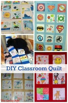 Learn how to make a classroom quilt! Turn fabric squares into a comfort quilt as an educational and team building community service project. Diy Art Projects, Quilting Projects, Projects For Kids, Diy For Kids, Crafts For Kids, Craft Tutorials, Project Ideas, Sewing Projects, Community Service Projects
