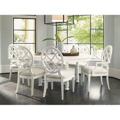 Tommy Bahama Home Ivory Key Solid Wood Dining Chair & Reviews | Wayfair Round Dining Table Sets, Solid Wood Dining Chairs, Dining Room Sets, Upholstered Dining Chairs, Dining Room Design, Dining Decor, Dining Tables, Large Furniture, Dining Room Furniture