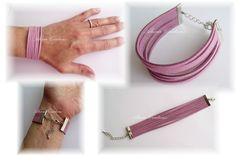 DIY :http://www.generationperles.fr//v4/idees_creatives-197.html    En vente ici 5€ : http://www.generationperles.fr/boutiquev4/creations-3/bijoux-24/bracelets_-3516/manchette_en_daim_artificiel_apprets_en_metal_argente_longueur_16_a_20cm_reglable_avec_chainette-6491.html