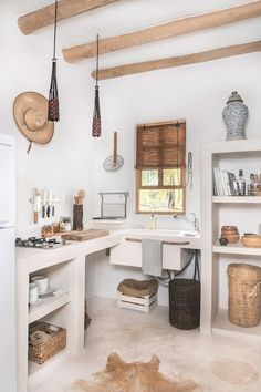 Kitchen Interior Design Love white and wood Rustic kitchen design - A boho-chic Airbnb on Mexico's charming Holbox Island, Casa Impala mixes splendid rustic aesthetics with a sense of comfort. Home Decor Kitchen, House Design, Rustic Kitchen Design, Kitchen Decor, Interior Design Kitchen, House Interior, Rustic Kitchen, Kitchen Design, Rustic House