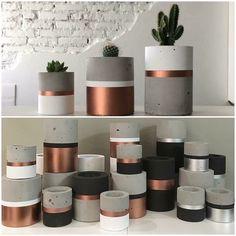 Cement Art, Concrete Crafts, Concrete Projects, Concrete Design, Concrete Planters, Diy Planters, Concrete Houses, Slow Design, Painted Plant Pots