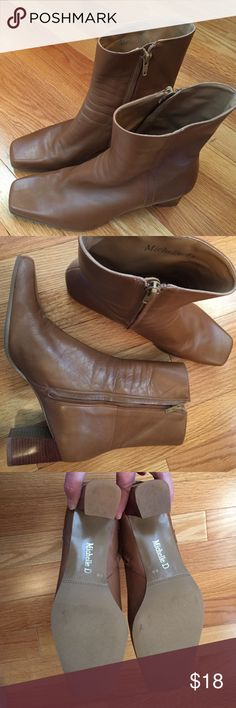 """Boots ankle Michelle D  Leather. Zipper inside. 2 1/2"""" heel, 6 1/2"""" shaft. Great Condition (tiny scuff inside right above heel, shown 4th picture). Very versatile color. Michelle D Shoes Ankle Boots & Booties"""