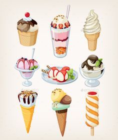 Set of frosty colorful ice cream of all shapes with different kinds of topping in glasses and in waffle corns.