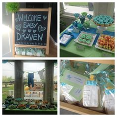 Blue Green Baby Shower