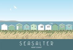 Art print Travel/Railway Poster of Seasalter beach huts. in Retro, Art Deco style design Posters Uk, Railway Posters, Beach Illustration, Mouse Illustration, British Travel, British Seaside, Kent Coast, Surf, Cities