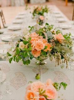 Beautiful peachy flower arrangement by the talented Ariella Chezar.