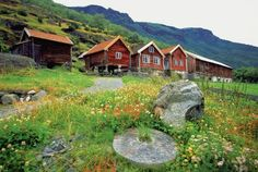Discover Northern Europe - Low angle view of wooden houses on a hillside, Flam, Norway