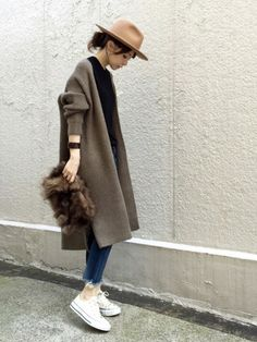 ari☆さんのコーディネート Autumn Style, Duster Coat, Fur Coat, Fashion News, Winter Fashion, Normcore, Fall Styles, Fur Collar Coat, Winter