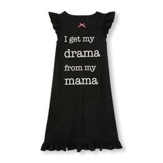 s Short Ruffle Sleeve 'I Get My Drama From My Mama' Nightgown - Black - The Children's Place