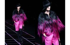 This Giorgio Armani ombre fur jacket and matching pink shorts may not be for everyone.
