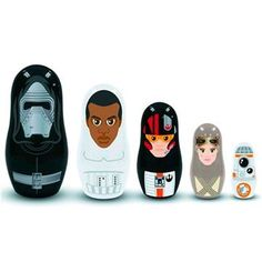 Your favorite Star Wars characters are in this collectible Star Wars The Force Awakens Nesting Dolls set! Each set includes five plastic nesting dolls representing some of the most beloved members …