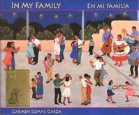 In My Family / En mi familia Cover. In her eagerly-awaited second book for children, Carmen Lomas Garza takes us once again to her hometown of Kingsville, Texas, near the border with Mexico. Through vibrant paintings and warm personal stories, Carmen brings to life more loving memories of growing up in a traditional Mexican American community: eating empanadas, witnessing the blessing on her cousin's wedding day, and dancing to the conjunto band at the neighborhood restaurant. #mothersday