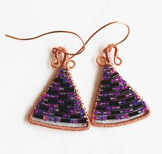 Purple Black Seed Bead Copper Wire Wrap Triangle Beautiful Handmade Earrings