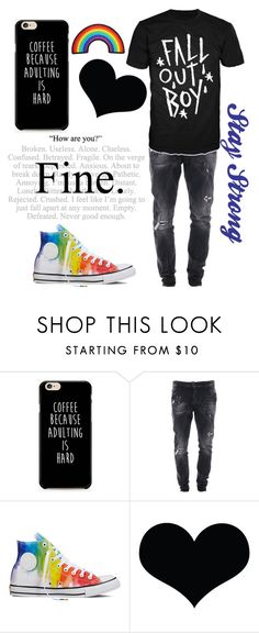 """Sawyer"" by the-uninportant-emo ❤ liked on Polyvore featuring Dsquared2 and Converse"