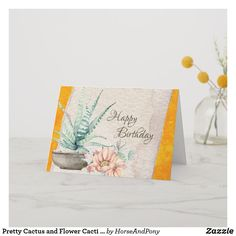 Pretty Cactus and Flower Cacti Southwest Birthday Card Unique Birthday Cards, Happy Birthday Beautiful, Cactus Flower, Custom Greeting Cards, Cacti, Thoughtful Gifts, Create Your Own, Christmas Gifts, Paper
