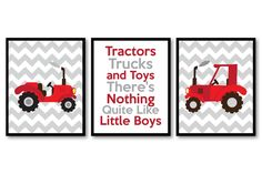 Tractor Nursery Art Tractors Trucks and Toys There's Nothing Quite Like Little Boys Prints Set of 3 Red Grey Baby Wall Decor Farm Stripes by KidsNurseryArt on Etsy https://www.etsy.com/listing/241412001/tractor-nursery-art-tractors-trucks-and