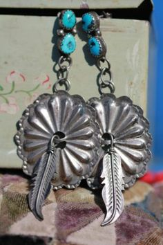 Vintage Southwestern 925 Sterling Silver Turquoise Concho Feather Earrings   eBay