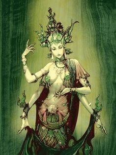 The Green Tara mantra, Om Tare Tuttare Ture Svaha, entreats to the compassion and the guidance that Goddess Tara can offer to devotees. Fantasy, Spiritual Art, Goddess, Illustration, Hindu Art, Fantasy Art, Deities, Art, Mythology