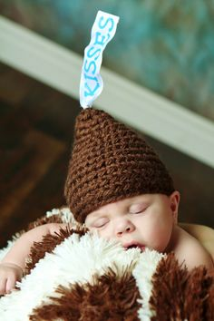"Crochet Chocolate ""Kiss"" Hat, Cap, Beanie- Size 0 to 6 Months - Baby Photography Prop. $24.00, via Etsy."