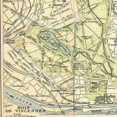 Bois de Vincennes Paris Vintage City Plan 1924  90 Years Old Paris Map Park Forest