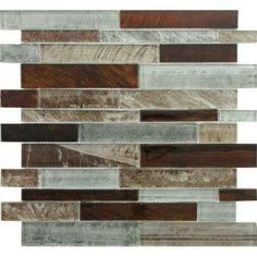 brown and grey backsplash tile - gotta try and make the brown granite match with all of our grey dishes and the grey floors!!