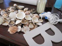Pearls & Mason Jars: DIY Seashell Initial Wreath