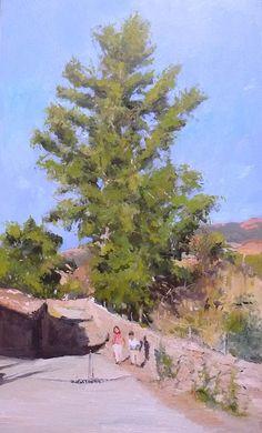 Cuadro al óleo de un paisaje de un gran árbol con dos niños. Oleo sobre panel.