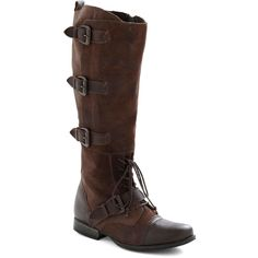 Leather upper. Man-made sole. Heel measures 1 inch. Shaft measures 16 inches in height, approximately 17 inches in circumference. Adjustable straps with buckle…